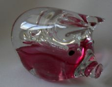 Glass Pig Paperweight, Pink